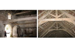 15th century barn conversion and renovation, original interior prior to renovation