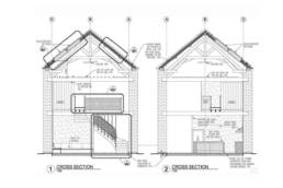15th century barn conversion and renovation, section design drawing