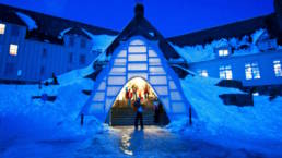 Timberline Lodge Winter Entrance with alpine winter glow