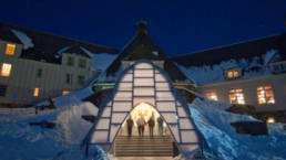 De-mountable Modular Winter Entrance to the Historic Timberline Lodge illuminated entry beacon
