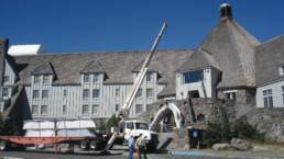 Timberline Lodge Winter Entrance first modular archway being installed in the Fall.