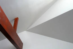 new wood beam and vaulted ceiling detail
