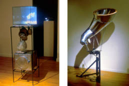 Diverted History: (L) Cloud Reconstructor, (R) Cerebraphone sculptures