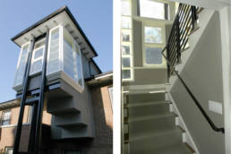 Display gallery stair - exterior and interior details