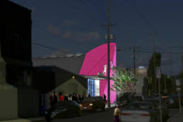 event rendering with pink lights on entry facade