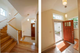 mudroom, stair to basement and second floor